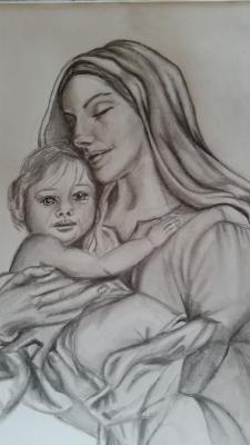 Madonna, Bleistiftzeichnung